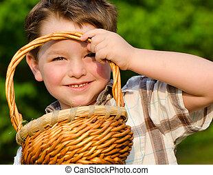 garçon, chasse, oeuf de pâques
