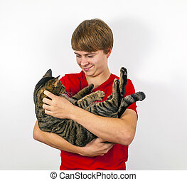 garçon, chat, sien, étreindre, mignon