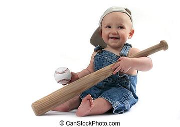 garçon, chauve-souris, balle, base-ball, tenant bébé
