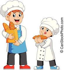 garçon, chef cuistot, sac, à côté de, tenue, lui, pain