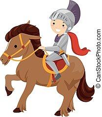 garçon, cheval, gosse, chevalier