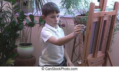 garçon, chevalet, dessine, image