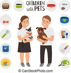garçon, chien, chat, animaux familiers, girl, enfants