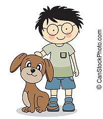 garçon, chien, sien