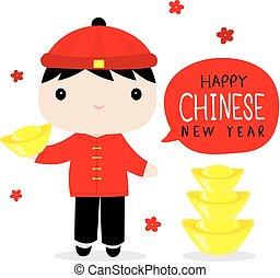 garçon, chinois, mignon, vecteur, année, nouveau, dessin animé, heureux