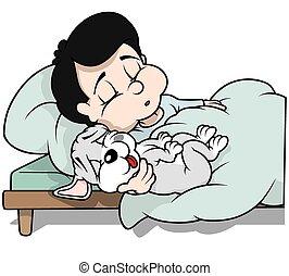 garçon, chiot, chien, dormir