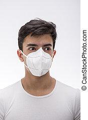 garçon, chirurgical, jeune, mask., porter