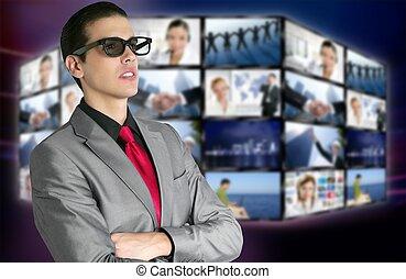 garçon, cinéma, spectateur, nouveau, 3d lunettes