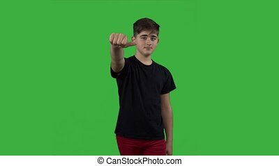 garçon, clã©, applaudir, chroma, jeune, arrière-plan vert, écran