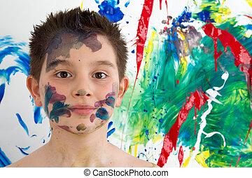 garçon, coloré, daubed, jeune, peinture, beau