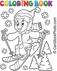 garçon, coloration, 1, thème, livre, ski