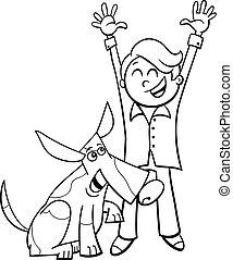 garçon, coloration, chien, livre, dessin animé, heureux