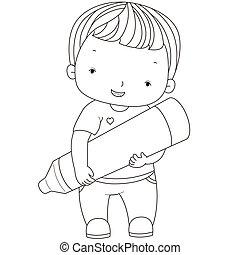 garçon, coloration, crayon, illustration