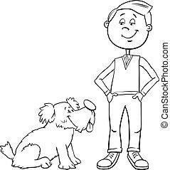 garçon, coloration, mignon, chien, livre, dessin animé