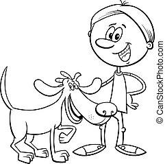 garçon, coloration, rigolote, chien, livre, dessin animé