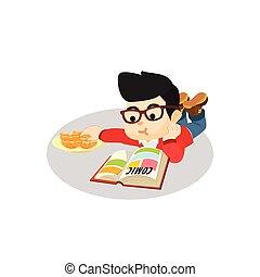 garçon, comique, livre lecture