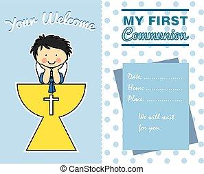 garçon, communion, carte, premier