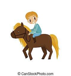 garçon, concept, équestre, brun, illustration, dessin animé, vecteur, fond, équitation, blanc, sport, litlle, cheval