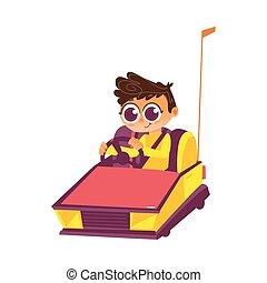 garçon, conduite, parking, vecteur, pare-chocs, amusement