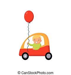 garçon, conduite, voiture, illustration, vecteur, dessin animé