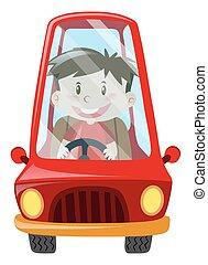garçon, conduite, voiture rouge