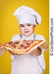 garçon, confection, pizza