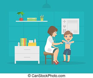 garçon, consultant, patient, écoute, bureau, docteur, illustration médicale, poitrine, vecteur, pédiatre, femme, stéthoscope