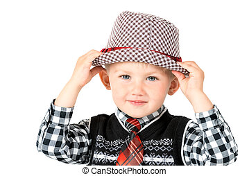 garçon, coup, isolé, studio, fond, chapeau blanc, heureux