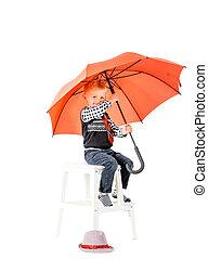 garçon, coup, studio, fond, parapluie, blanc