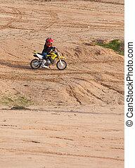 garçon, coureur, motocyclette