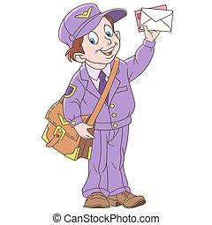 garçon, courrier, dessin animé, homme