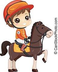 garçon, course chevaux, illustration, gosse