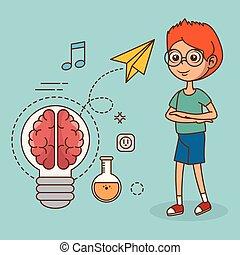 garçon, créatif, idée, grand, icônes