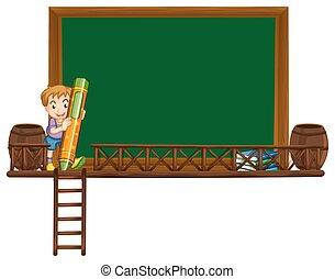 garçon, crayon, planche, tenue, gabarit