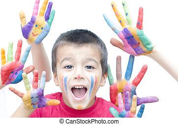 garçon, cris, coloré, mains