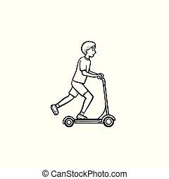 garçon, croquis, scooter, main, équitation, dessiné, icon., coup de pied