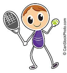 garçon, croquis, tennis, jouer