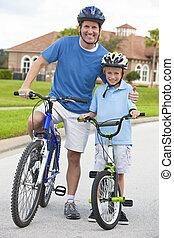 garçon, cyclisme, famille, &, père, fils, enfant, homme