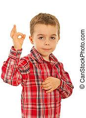 garçon, d'accord, projection, signe, geste main