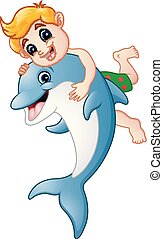 garçon, dauphin, dessin animé, jouer