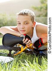 garçon, dehors, sport, vélo