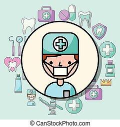 garçon, dentiste, caractère, dessin animé, professionnel