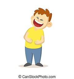 garçon, design., caractère, bras, plat, dehors, isolé, arrière-plan., blanc, sien, ventre, heureux, vecteur, rire, dessin animé, illustration, pressé, bruyant