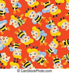 garçon, dessin animé, abeille, seamless, modèle