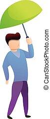 garçon, dessin animé, couleur, parapluie, icône, style, chaux