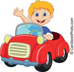 garçon, dessin animé, dans rouge, voiture