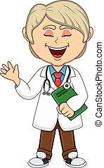 garçon, -, dessin animé, docteur