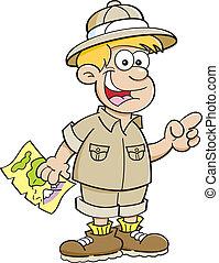 garçon, dessin animé, explorateur, habillé