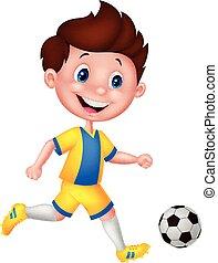 garçon, dessin animé, football, jouer