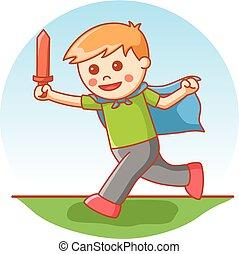 garçon, dessin animé, jouer, épée, illustrat